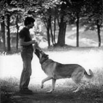Andrei Tarkovsky with his dog