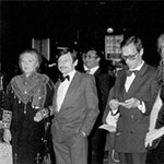 Larisa Tarkovskaya, Andrei Tarkovsky, Oleg Yankovsky and Domiziana Giordano at the premiere of Nostalghia at Cannes